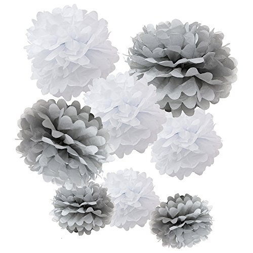 WYZworks Set of 8 Assorted White/Grey Pack 8quot 10quot 12quot Tissue Pom Poms Flower Party Decorations for Weddings Birthday Bridal Baby Showers Nursery Décor