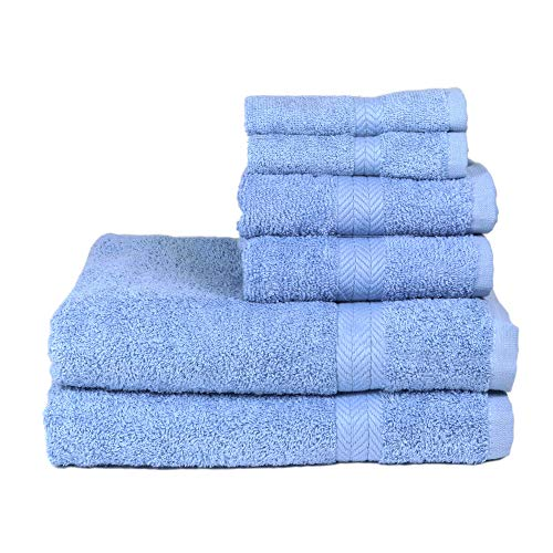 Arkwright Chelsea Cotton Towel Set |Pack of 6 Premium Woven Towels with Chevron Dobby, Multi-Purpose Use for home, hotel, spa, dorm | 2 Bath Towels, 2 Hand Towels, 2 Wash Towels (Blue)