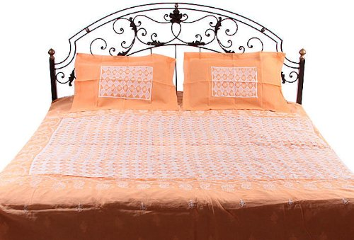 Orange and Ivory Cutwork Bedspread with Lukhnavi Chikan Embroidery - Pure Cotton B004WJ56MM