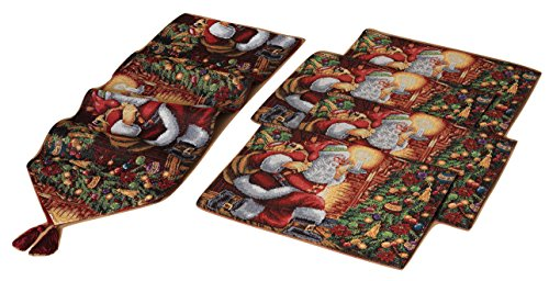 5-Pc Set of Fabric Santa Claus Christmas Dinner Table Runner and Place - Runner Santa Table