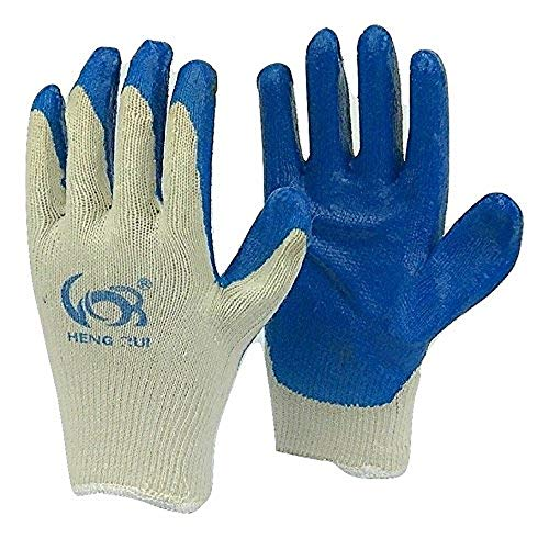 Safety Grip Protection Gloves Economical String Knit Latex Dipped Palm Gloves, Nitrile Coated Work Gloves for General Purpose, One Size, Blue (20)