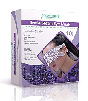 Steam Eye Mask for Dry Puffy Eyes, Dark Circles, Fragrance Free Heated Eye Mask for Sleeping, Travel or at Work.-10pcs Essencell Health