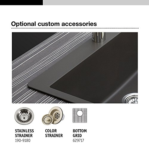 Houzer E-100 MIDNITE Quartztone Series Granite Dual Mount Bar/Prep Sink, Black by HOUZER (Image #6)