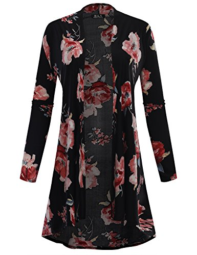(BH B.I.L.Y USA Women's Open Front High-Low Long Sleeve Floral Print Cardigan 12145 Black XX-Large)