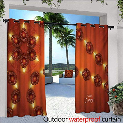 homehot Diwali Exterior/Outside Curtains Paisley Design Tribal Festive Celebration Image with Candle Work of Art for Patio Light Block Heat Out Water Proof Drape W84 x L84 Dark Orange Yellow -