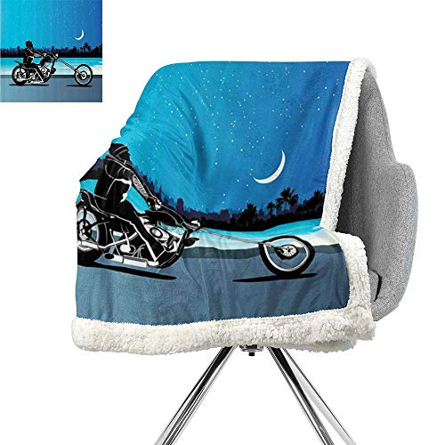 Motorcycle Decor Flannel Bed Blankets,Art with Chopper Motorcycle Biker Riding Under Starry Night Sky Cityscape Silhouette,Black Navy,Super Soft Blanket for Coach,Sofa,Bed W59xL31.5 Inch