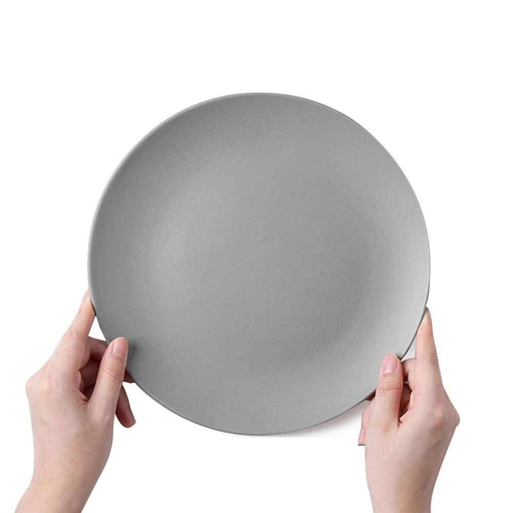 Flat plate shallow dish home western dish set round dish ceramic (color : Gray)