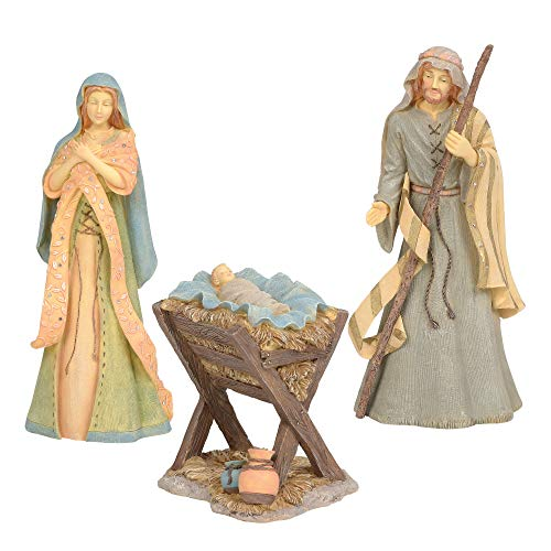 Enesco Set of 3 Foundations Holy Family Nativity, 10