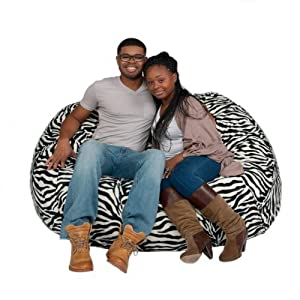 Cozy Sack 5-Feet Bean Bag Chair, Large, Zebra Print