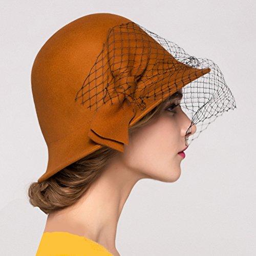 Maitose Trade; Women's Vintage Fedoras Wool Felt Veil Hat Orange by Maitose (Image #4)