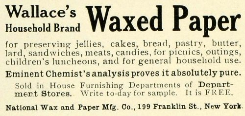 1906 Ad National Wallace Waxed Paper Home Kitchen Wrapping Food Covering Kitchen - Original Print Ad from PeriodPaper LLC-Collectible Original Print Archive