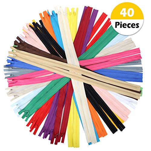 OTRMAX 20Inch Nylon Invisible Zippers/Conceal Zippers/Sewing Zippers Garment Sewing Accessories, Set of 40pcs (20 Colors, 2pcs Each Color)