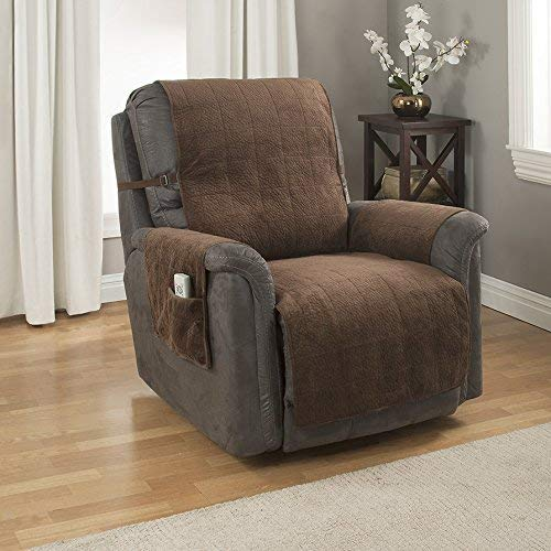 Chocolate Recliner Leather - Link Shades GPD Heavy-Weight Microsuede Pebbles Furniture Protector and Slipcover with Anti-Slip Backing for Recliner Chair, Chocolate