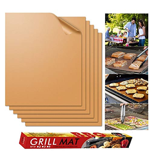 CHEDAL 6pcs BBQ Grill Mat Non-Stick Barbecue Baking Liners Reusable Cooking Sheets PTFE Bakeware Sheet Easy Clean BBQ mat by CHEDAL