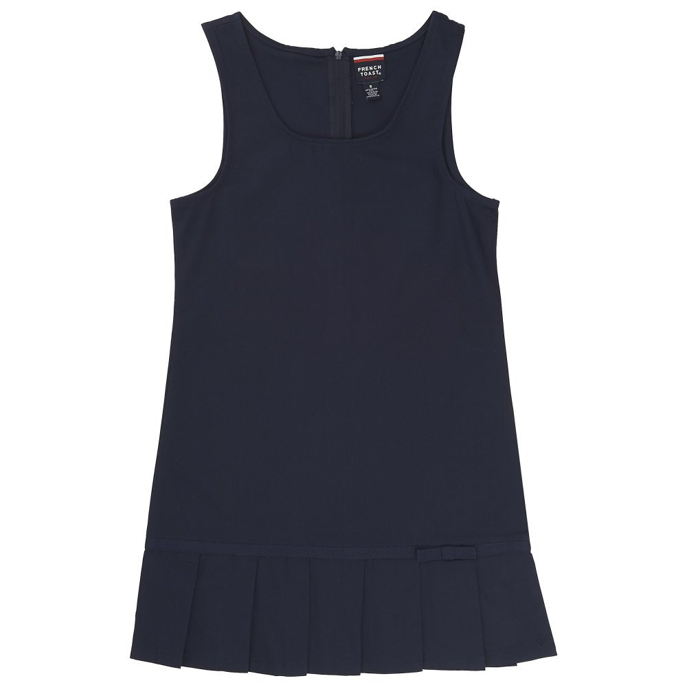 French Toast Big Girls' Pleated Hem Jumper with Ribbon, Navy, 16