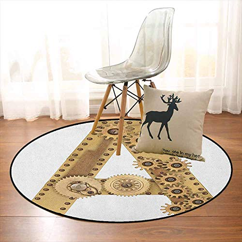 Letter A 3D Printed Round Carpet Steampunk Mechanical Alphabet Letter Font A Photo Compilation Cogwheel Clench for Partial Areas D35.4 Inch Sand Brown