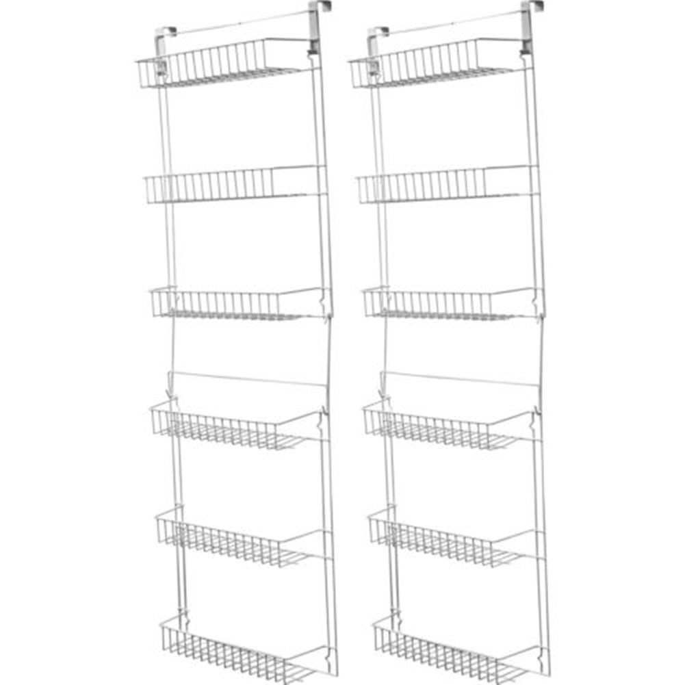 Over Door Kitchen Storage Basket Rack 5 Foot 6 Shelves Pantry Closet Set of 2 Each 4.5 inches deep White
