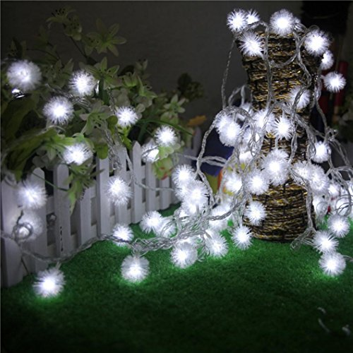 Ecosin Romantic Night Fairy String Light Dandelion LED Shaped Curtain Lamp Party Wedding Outdoor Decor (White)