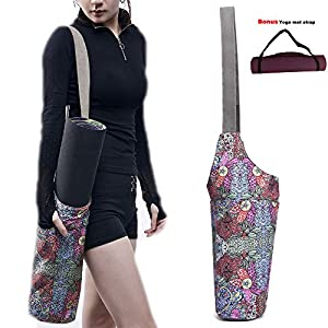 IGUDE Yoga Mat Bag with Large Size Pocket and Zipper Pocket Boho Bag Fit Most Yoga Accessory Yoga Bags and Carriers for Women