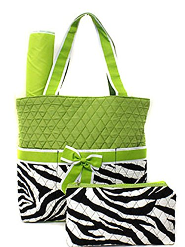 3 Piece Set Quilted Zebra Print Diaper Bag w/ Changing Pad &