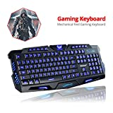 Nov8tech Ergonomic LED Three Color Backlight USB Wired Game Keyboard with Adjustable Light Brightness and 1.5M Cable for Laptop and Desktop PC Dell Lenovo HP Acer and many more