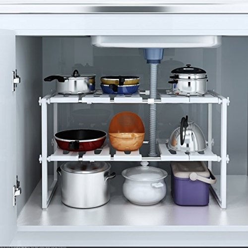 Thxbyebye Adjustable Under Sink Storage Shelf Expendable Cabinet Kitchen Rack