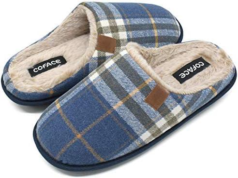 COFACE Chaussons Homme Pantoufles /à Carreaux Hiver Chaussures Chaudes pour La Maison en Mousse /à M/émoire de Forme Laine en Peluche Doubl/ée avec Semelle en Caoutchouc Antid/érapante