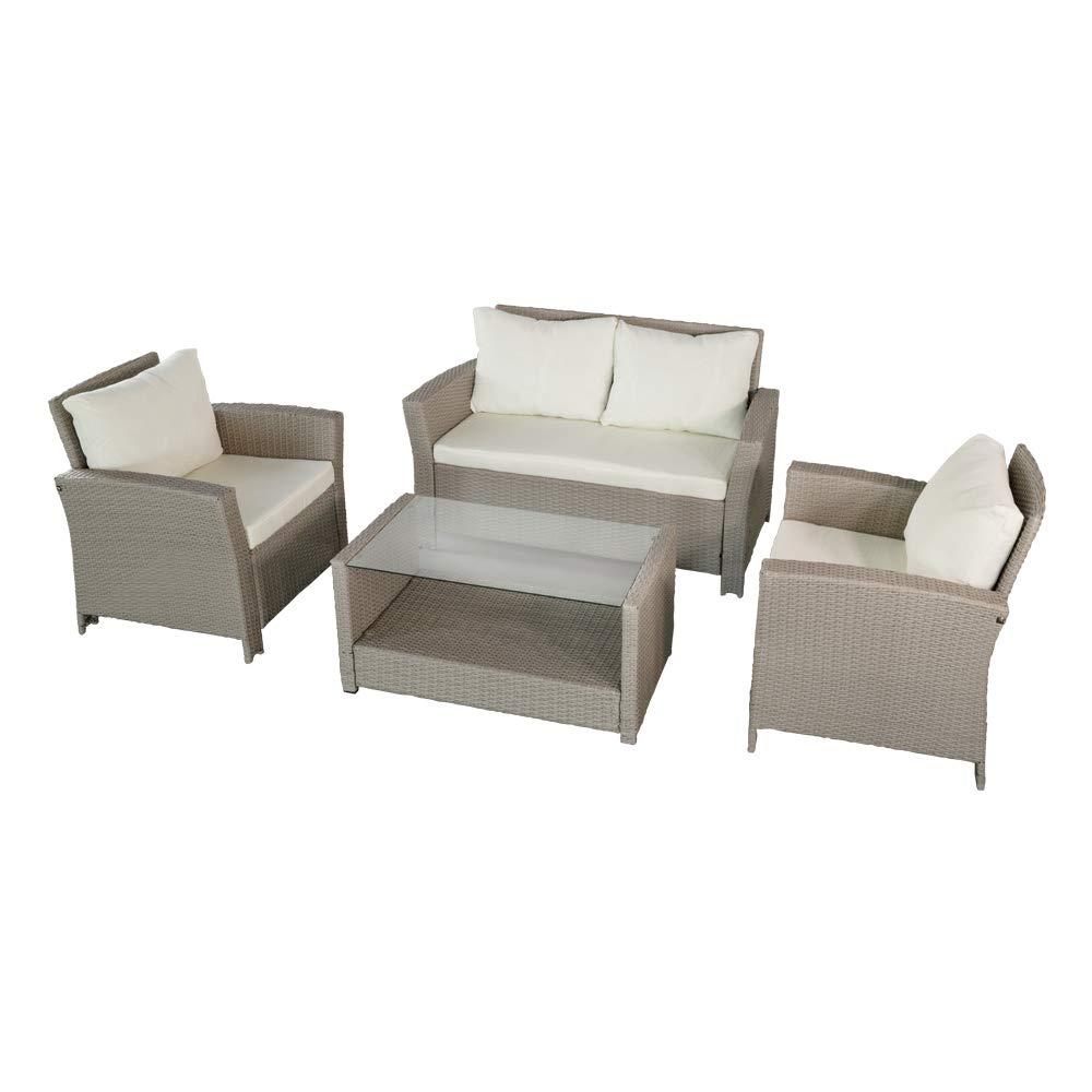 75x68x76 Set di mobili da Giardino in Rattan Sintetico Colore Beige: Divano a Due posti 130x68x76 Aktive 61012 90x50x44 + 2 poltrone + Tavolo