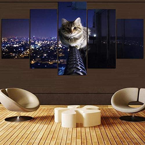 Panpan Art Modulaire Poster Frame Hd Woondecoratie 5 Panelen Schattige Kat Dier Moderne Canvas Woonkamer Print