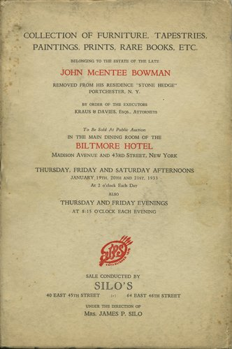 Collection of furniture, tapestries, paintings, prints, rare books, etc. January 19, 20, and 21, 1933.