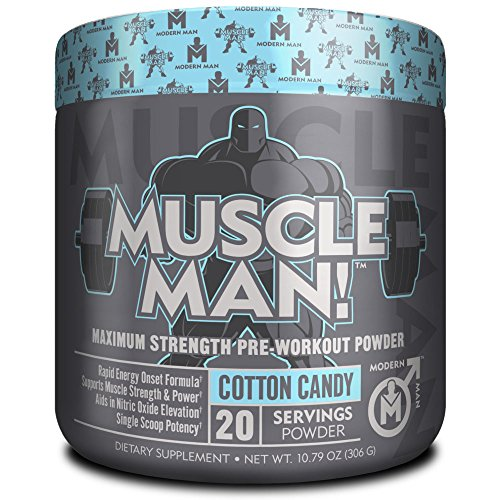 Muscle Man Preworkout Supplement for Men Muscle Builder Pre Workout Powder, Nitric Oxide Booster with Alpha GPC, Creatine HCL Beta Alanine for Raw Power, Cotton Candy, 306G