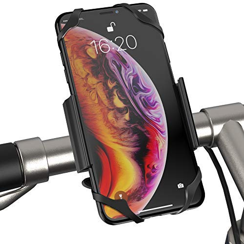 IPOW Universal Metal Base Bike Cell Phone Mount Bicycle & Motorcycle Smartphone Holder Cradle for Mountain Bike, ATV, Stroller and More