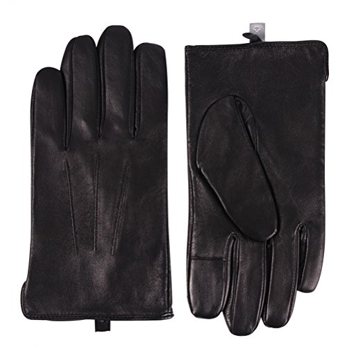 Genuine Leather Gloves Black Men, Color Inchoice Wool Cashmere Lined Winter Warm Gloves(L,Black)