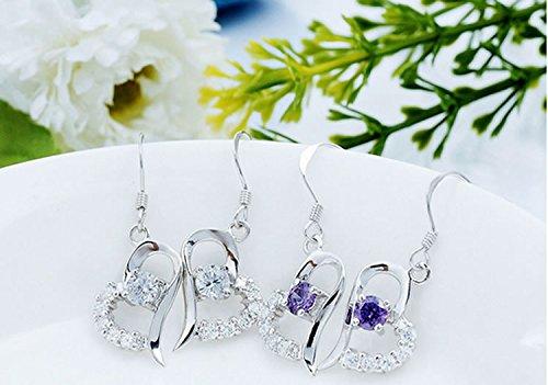 Women Fashion Heart Shaped Crystal Dangle Drop Earrings Hook 925 Silver by Joyfulshine