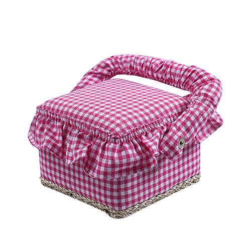 SAXTX Small Sewing Basket with 30 Pcs Sewing Kit Accessories for Beginner | Kid Birthday Gift Boxes | 4.8 x 4.8 x 3.8 inches by SAXTX