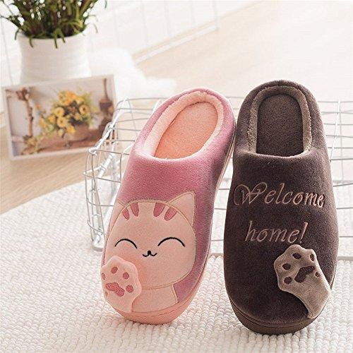 Chaussons Coton Hiver Pantoufles JIAJIA YL Lovely Doux I Femmes Slipper Chaudes pour Hommes Chat Peluche qgzpSF
