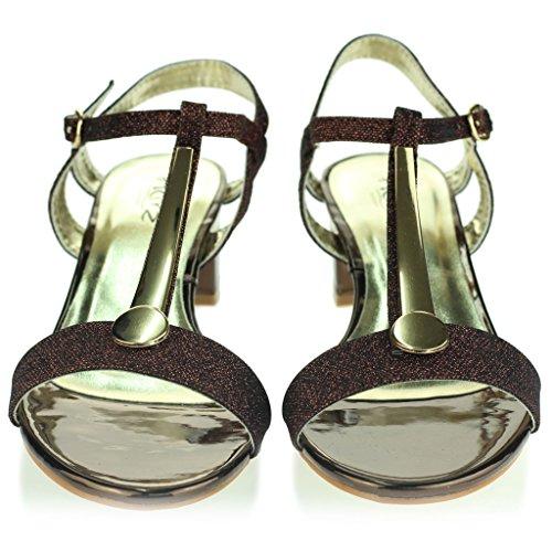 Mujer Señoras Detalle Punta Abierta Correa de Tobillo Cierre de Hebilla Tacón de Bloque Medio Noche Casual Fiesta Sandalias Zapatos Talla Bronce