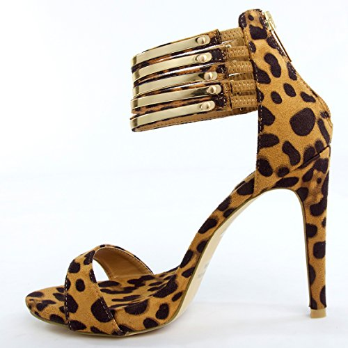 Bella Marie Womens 40-HELENA19 Open Toe High Heel Sandal Shoes, Leopard Faux Suede, 7 B (M) US