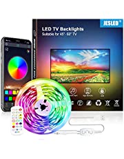 JESLED 3M TV LED Backlight, Smart Bluetooth LED Strip lights with Built-in Mic, Music Sync, RGB Color Changing LED Light Strip Kits for 24-60'' TV PC Monitor (24-Key Remote+APP Control+USB Powered)