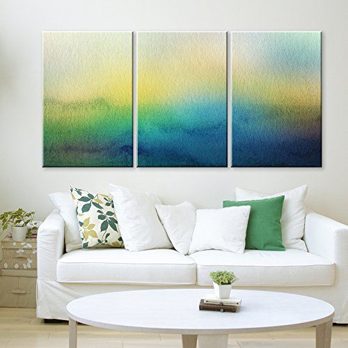 3 Panel Watercolor Painting Style Colorful Abstract Seascape x 3 Panels