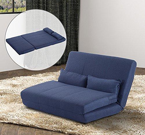 Homcom divano letto matrimoniale in acciaio e tessuto di poliestere con 2 cuscini blu scuro - Offerte divano letto matrimoniale ...