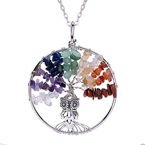 Tree of Life Necklace 7 Chakra Pendant Healing Necklace Gemstone Owl Jewelry Mothers Day Gift