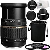 Tamron Zoom Super Wide Angle SP AF 17-50mm f/2.8 XR Di II LD Aspherical [IF] Autofocus Lens for Canon EOS Digital Cameras with Manufacturer Accessories + 3 Piece Filter Kit (UV+CPL+FLD) + Microfiber Cleaning Cloth
