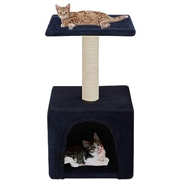 Festnight Árbol para Gatos con 1 Cómoda Casita y 1 Plataforma Rascador con Poste de Sisal 55cm Azul Oscuro: Amazon.es: Hogar