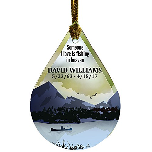 GiftsForYouNow Fishing Memorial Tear Drop Personalized Glass...