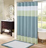 Dark Green Shower Curtain Comfort Spaces –Windsor Shower Curtain – Aqua - Green – Panel Design - 72x72 inches
