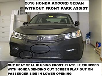 Fits Car Mask Bra 2016-2017 Honda Accord sedan without front park assist Lebra 2 piece Front End Cover Black