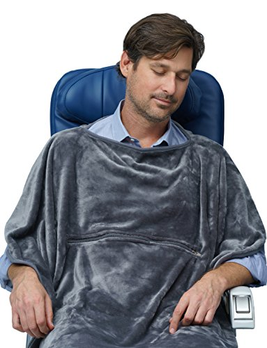 Travelrest Travel Blanket 4-in-1 with Poncho, Zippered Pocket & Stuff Sack