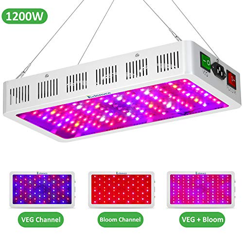 Exlenvce 1500W 1200W LED Grow Light with Bloom and Veg Switch, Daisy Chained Design LED Plant Growing Lamp Full Spectrum for Indoor Plants Veg and Flower (Triple-Chips 15W LED) ()