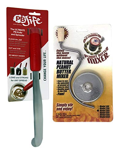 Grandpa Witmer's Old Fashioned Mess-Free Peanut Butter Mixer with PB-JIFE! Ultimate PB Spreader Knife Stirrer Bundle (16 oz/2.75